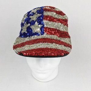 Womens USA Stars and Stripes Sequence Hat.